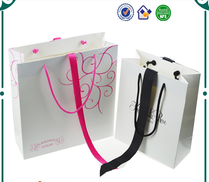 Silver Logo Stamping Printed Paper Bags With Handles OEM Welcome