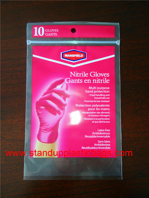 Soft PE Material Flat Style Plastic Ziplock Bags For Rubber Glove Packaging